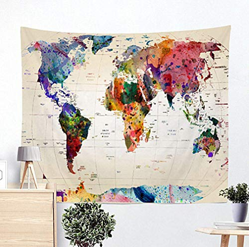 Jasion Watercolor World Map Tapestry Abstract Map Wall Hanging Art for Home Headboard Bedroom Living Room Dorm Decor in 51x60 Inches