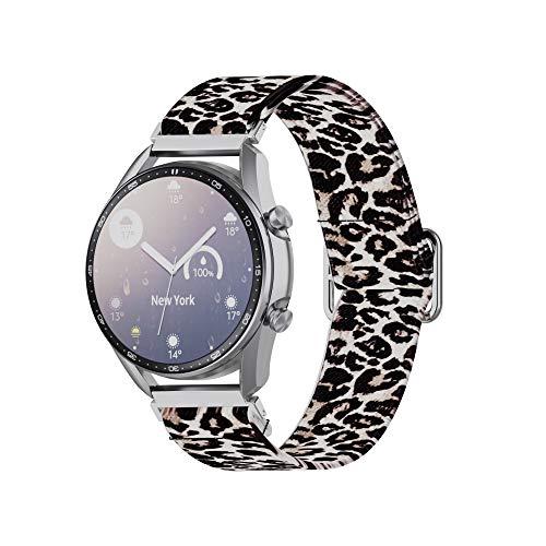 Yikamosi 22MM liberación rápida Correa elástica Compatible con Samsung Galaxy Watch 3 45MM/Galaxy Watch 46MM Elástico Cinturón de muñeca Leopardo