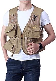 ポケットベスト夏の薄いメッシュベストカジュアルマルチポケット写真釣りベストベストジャケット (色 : Khaki, サイズ さいず : M m)