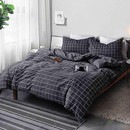 NANKO Queen Duvet Cover Set Black Grid Geometric 3 Pieces 90x90 Luxury Microfiber Quilt Bedding Cover with Zipper Closure, Ties - Best Organic Modern Style for Men and Women, Plaid