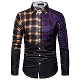 Jinyuan Plaid Patchwork Clothes Men Slim Fit Casual Shirt Long Sleeve Large Size Tops Males Fashion Elegant Blouse Shirts