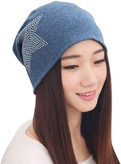 Classic Soft Knit Fashion Beanie Cap Hat with Rhinestone Star for Woman