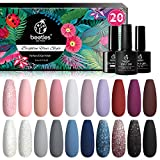 Beetles 20 Pcs Gel Nail Polish Kit, Modern Muse Collection Soak off Nail Gel Polish Nude Gray Nail Polish Pink Blue Glitter Gel Polish Starter Kit with Glossy & Matte Top Coat and Base Coat Christmas - Best Reviews Guide