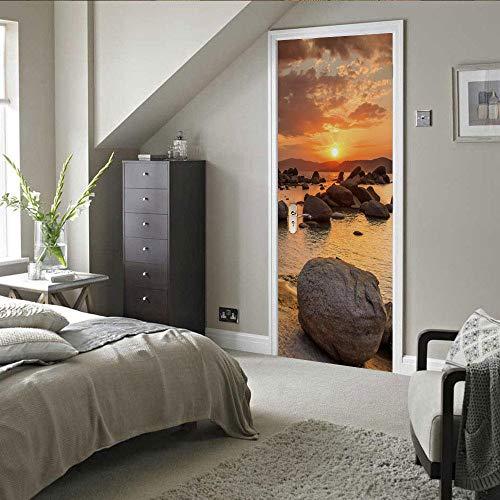 JinwoRyeahs 3D Interior Door Bedroom Sticker Door Sticker Waterproof Self-Adhesive Paper Living Room Bedroom Office Family Seaside Reef Stones-Custom Made
