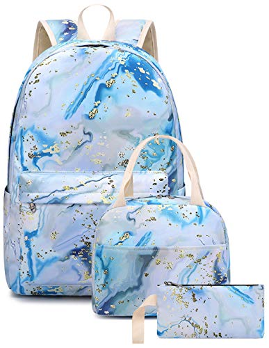 BLUBOON Teen Girls School Backpack Floral Bookbag Set with Lunch Box Pencil Case Travel Laptop Backpack Casual Daypacks (Marble-04 blue)