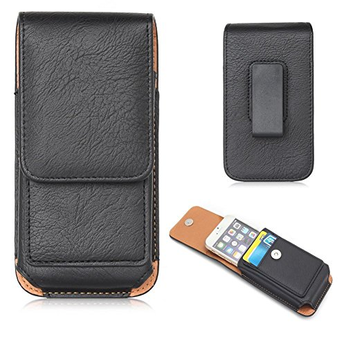 Vertical Executive Cell Phone Case with Belt Clips Holster Pouch for iPhone 11/11 Pro/Samsung Galaxy S10e / A10e / Googel Pixel 3a / Motorola Moto E6 / G7 Play/LG Aristo 3 (Black)