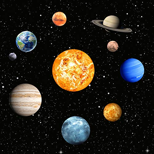 9 Planeten Sonnensystem Wandsticker, Leuchtsticker Sonne Erde Fluoreszierend Wandaufkleber Hausdekoration für Kinderzimmer