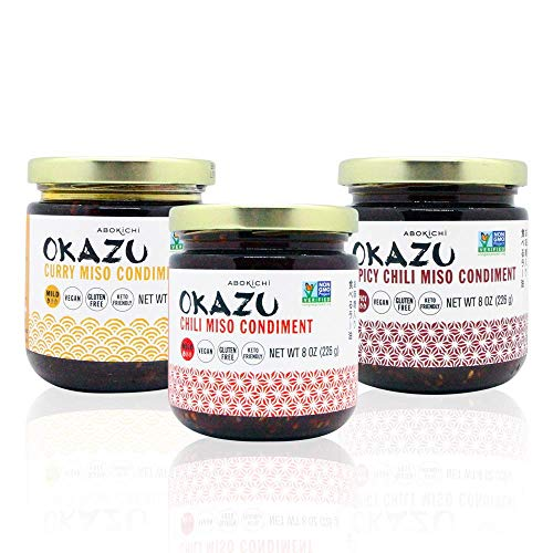 Award-Winning Japanese Miso Oil 3 Pack Mix Gift Set - Savoury, Umami-Rich OKAZU Condiment Handcrafted in Canada by Abokichi - All Natural, Vegan, Non-GMO, Gluten Free, no MSG (3X 230mL)…