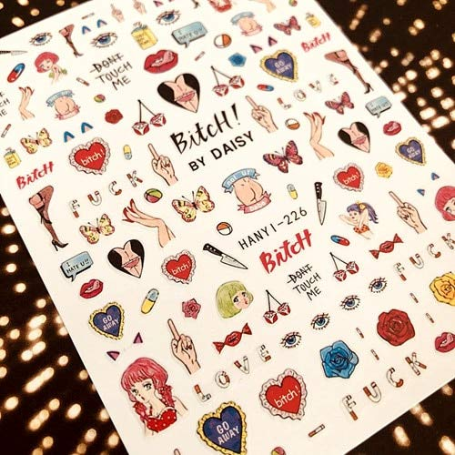 PMSMT HANYI-226 Nueva línea de diseño de niña de Dibujos Animados diseños de películas Coloridas 3D Nail Art Sticker Accesorios para calcomanías de uñas