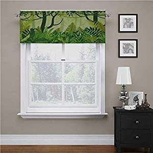 Plant Kitchen Curtains valances Cartoon Style Jungle Depiction Hand Drawn Digital Rainforest Leaves Bushes Trees for Small/Kitchen/Bathroom Window Jungle Green