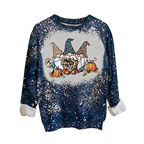 Dubras Thanksgiving Long Sleeve Shirts for Women,Tie Dye Crewneck Sweatshirts Love Pumpkin Print Pullover Tops Fall Blouse Beige