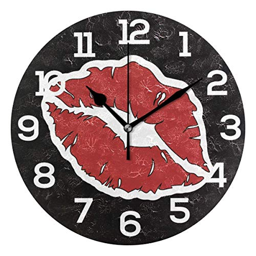 Reloj de pared para mujer, boca roja, fondo negro, reloj acrílico redondo, números grandes, silencioso, no hace cosquillas, pintura decorativa, funciona con pilas, para escuela y biblioteca de hotel