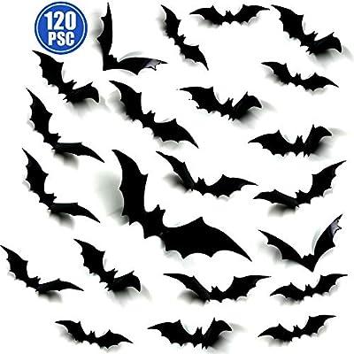 Oasisblossom Halloween Bats Decorations, 120Pcs Paper Bats Decals for Halloween Party Supplies Home Decor, Assorted Size 3D Decorative Scary Bats Stickers Wall Decals Window Stickers Halloween Decor