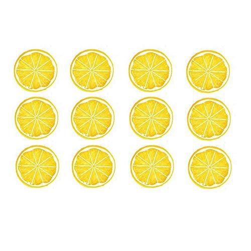 QAH 12 Stück Simulation Zitronenscheiben Lebensechte künstliche Frucht für Küche Hochzeitsdekoration, gefälschte Frucht realistische Zitrone(Yellow)