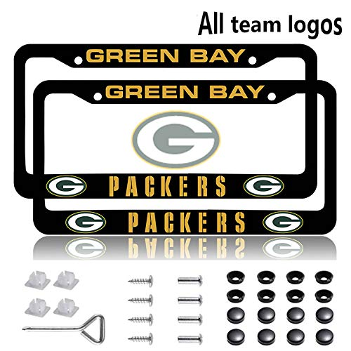 Fit Green Bay Packers License Plate Frames 2 Pack, Aluminum Alloy Black Packers License Plate Holder Universal American Frame for Honda Nissan GMC Jeep Benz BMW Toyota Cadillac Lexus(Fit Packers)