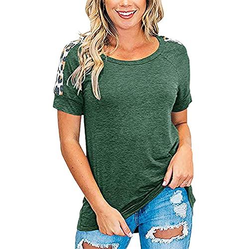 Elesoon Camiseta de verano para mujer con estampado de leopardo liso liso y patchwork raglán de manga corta, A-verde oscuro, 46