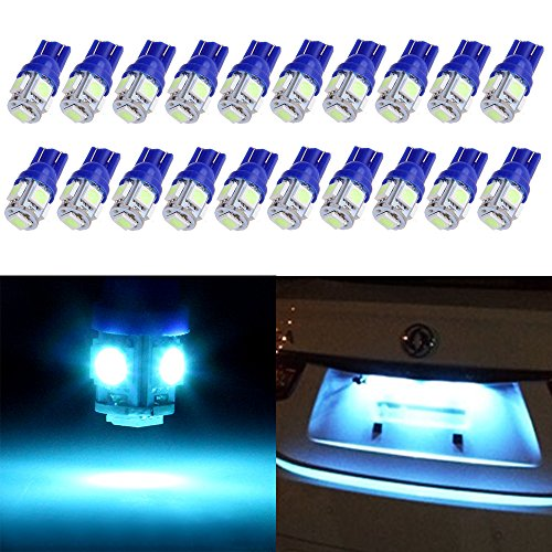cciyu T10 License Plate Lights Festoon LED Bulbs 5-5050-SMD Super Bright Ice Blue Interior Car Lights 194 168 W5W 175 2825 161 fit for License Plate Lights Light Bulb Pack of 20