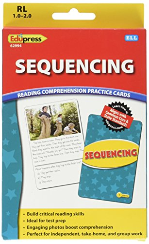 Edupress Reading Comprehension Practice Cards, Sequencing, Yellow Level (EP62994)