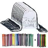 Yuccer Zaino da Colorare, 12 PCS Borsa da Colorare con 48 Pezzi Pennarelli Lavabili Kit Festa Compleanno Bambini Party Bag Compleanno Regalini per Feste Bambini