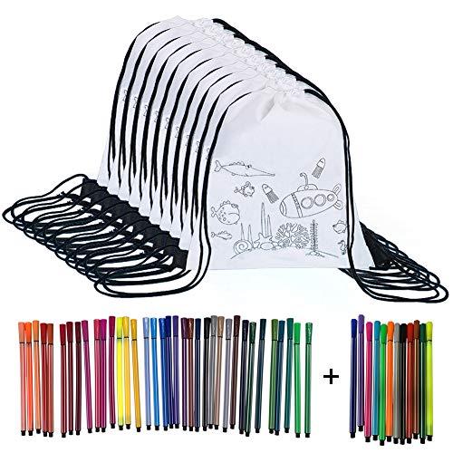 Yuccer Mochila para Colorear Niños, 12 PCS Bolsa para Colorear con 48 Piezas Rotuladores para Colorear Juguetes Pequeños para Cumpleaños