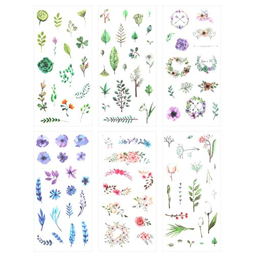 3 Set(18 Sheet) Fresh Floral Summer Green Plants Leaf Flower Tree Branches Stationery Sticker Scrapbooking Planner Journal Diary DIY Decorative Label Craft Stickers (Summers Gift)