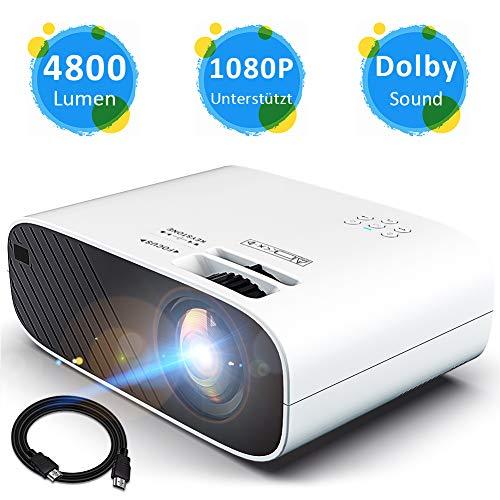 Mini Beamer Full HD Video Projektor Heimkino Beamer Unterstützt 1080P mit HiFi Stereo 4800 Lumen 200