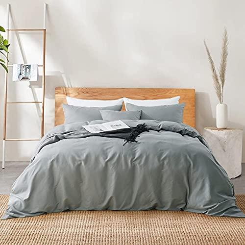 RUIKASI Funda nórdica para cama de matrimonio de 240 x 220 cm + 2 fundas de almohada de 50 x 80 cm de microfibra, funda de edredón transpirable de color liso con color gris