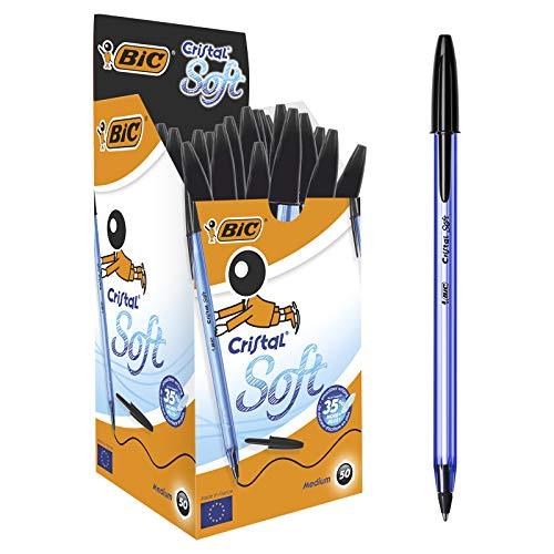 BIC Penne Nere a Sfera, Cristal Soft, Punta Media (1.2 mm), Confezione da 50 Penne, Fornitura Cancelleria Scuola e Ufficio
