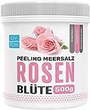 LivPuri Peeling Meersalz Rose mit Jojobaöl, 500g für Damen & Herren optimal anwendbar als Körperpeeling, Duschpeeling, Saunasalz, Body Scrub, Saunazubehör - sanfte & wohltuend
