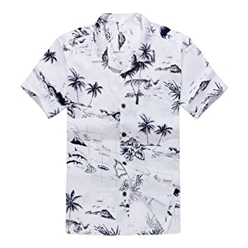 Palm Wave White Map Large