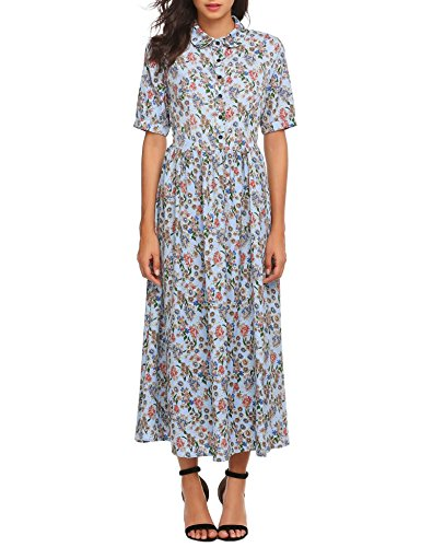 Acecoree Women's Vintage Style Peter Pan Collar Short Sleeve Floral Print Long Maxi Dress Tops