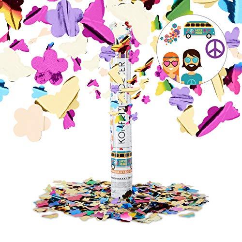 Relaxdays Party Popper bunt mit Schmetterlingen, Blumen, Konfetti Kanone für Mottopartys, 40cm Party Shooter, mehrfarbig