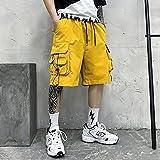 WRYIPSF Pantaloncini da Carico Estivi Uomini in Cotone Ginocchio di Cotone Lunghezza Nero Casual Pantaloni Corti Pantaloni Streetwear Hip Hop Shorts Uomo Joggers-Giallo_L.