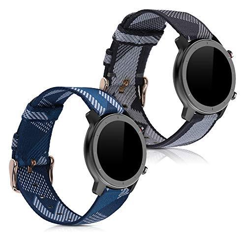 kwmobile Cinturino Compatibile con Huami Amazfit GTR (42mm) - 2X Fascetta per Smart-Watch Fitness-Tracker - in Nylon con Fibbia ca. 14-22 cm