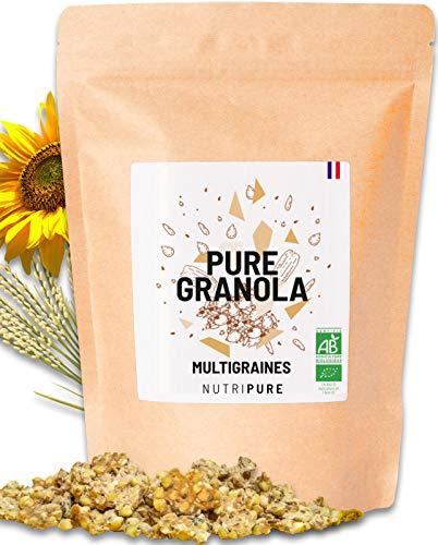 Pure Granola Bio • Artisanal • Multigraines (sarrasin, courge, tournesol, lin, chia) • 7 ingrédients • Riche en protéines et fibres • Muesli Vegan, cru, sans conservateur ni sucre ajouté • NUTRIPURE