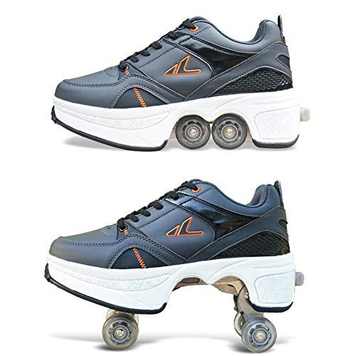 Pinkskattings@ Rollschuhe Sneaker Mit Rollen Schwarz Automatische Wanderschuhe Unsichtbar Deformation Roller Schuhe Zum Skaten/Party/Disco,41
