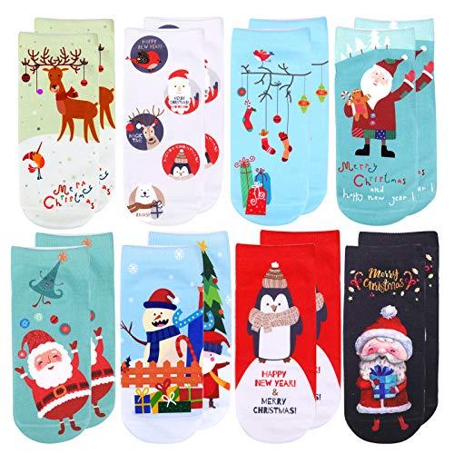 HOWAF 8 Pares Bonitos Calcetines Navidad para Niños Niñas, Calcetines Navidad Casuales...