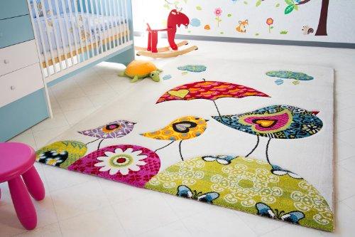 Kinder Teppich Vogel Theo - Little Carpet Kinderteppich beige - Öko-Tex zertifiziert, Größe: 100x160 cm