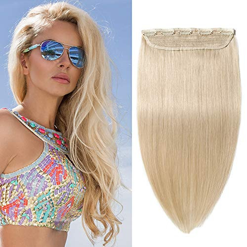 """S-noilite One Piece Clip in Human Hair Extensions 16"""" 80g 100% Real Human Hair 5 Clips 3/4 Full Head Clip on Extensions #613 Bleach Blonde"""