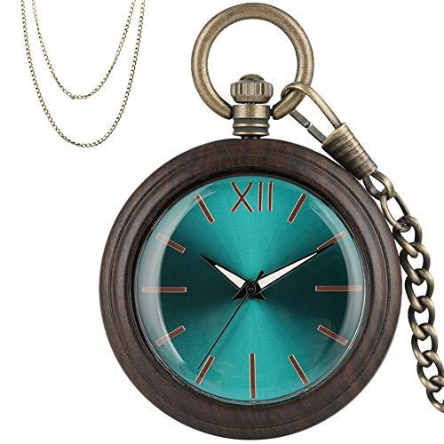 LOOIUEX Reloj de Bolsillo Reloj de Bolsillo de Cuarzo analógico Azul Real, Caja de Madera de ébano Vintage, Reloj Colgante de Lujo, Regalos para Hombres, Mujeres, Cadenas de Bolsillo de Bronce