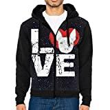 Men's Sleeve Hoodie Fox Terrier Dog Lovers Zip Up Sportswear Jackets Black
