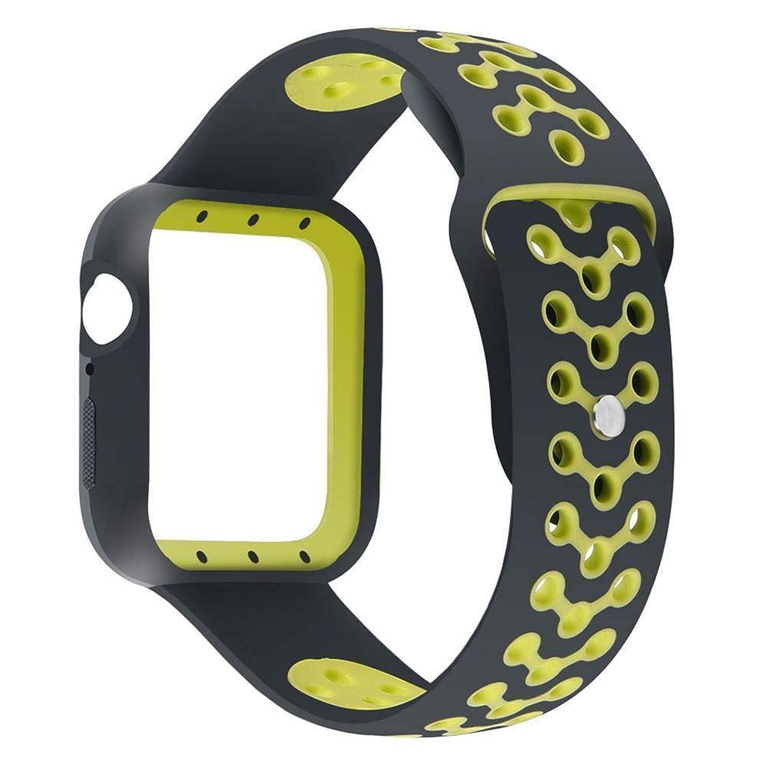 圧倒的何もない笑いFidgetGear Apple Watch iWatch Series 4用のスポーツスマートウォッチバンドブレスレットストラップリストベルト イエロー40mm