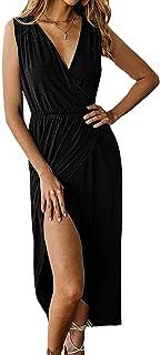 d2e8cf4939 ECHOINE Women's Plain Office Work Dress Long Sleeve Sexy Slit Maxi Long  Wrap Dress with Belt