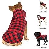 Idepet Camisa con capucha a cuadros para perros, ropa de invierno para mascotas Chaleco Disfraces Abrigo suave y cálido para perros pequeños medianos grandes Gatos