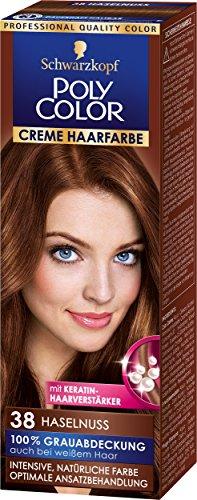 Schwarzkopf Poly Color Creme Haarfarbe, 38 Haselnuss Stufe 3, 3er Pack (3 x 83 ml)
