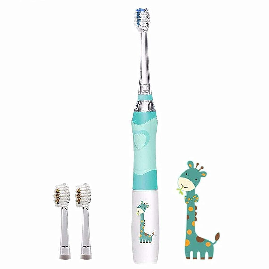 保護議会議会子供の電動歯ブラシ付きタイマー、防水ソフト口腔衛生マッサージ歯のケア、男の子と女の子,Blue