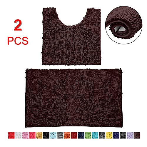 Bathroom Rugs Chenille Bath Mat Set, Soft Plush Non-Skid Shower Rug +Toilet Mat. (Brown)