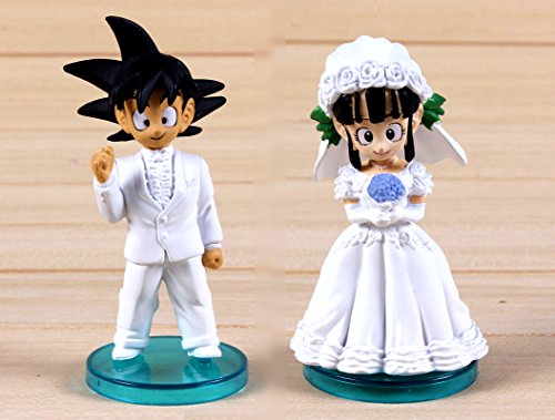 Pareja de novios Dragon Ball Tamaño: 8 cm cada unidad Acabado de alta calidad Para los fans de Goku y amigos. Espceial tarta de boda Garantia nacional, envio desde España (Zaragoza), inmediato y gratuito