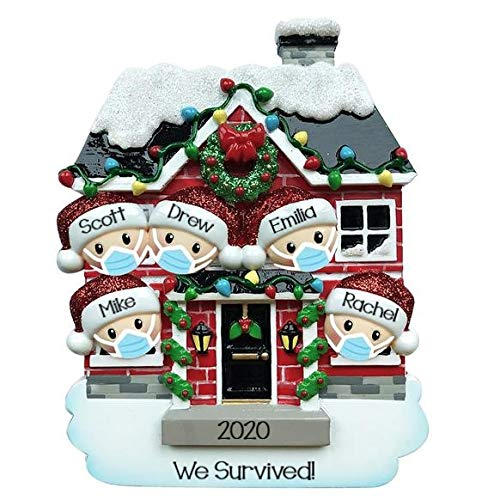 Holiday Treasures 2020 Personalized Ornament House of Family Christmas Tree Ornament Handwritten Customized Decoration Family Ornament - Free Personalization (Family of 5)