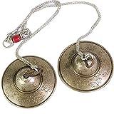 ティンシャ チベットスタイルの八宝吉祥Tingsha純銅チベットシルバーマニュアルノックベル打楽器 (Color : Brass, Size : 8.5X8.5cm)